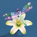 Yellow Lily Glass Dragonfly