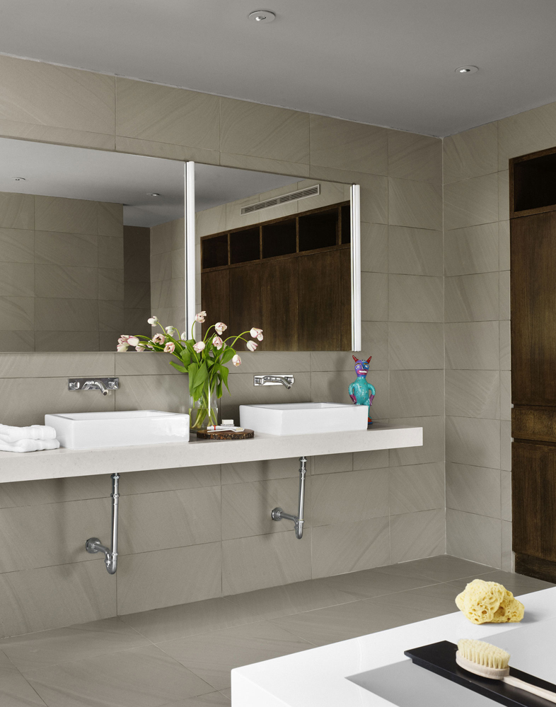 west lake hill residence project designed by specht harpman architects featuring artemide basic strip wall lamp basic bathroom strip