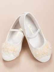 3 Ivory Flower-Design Girl Shoes
