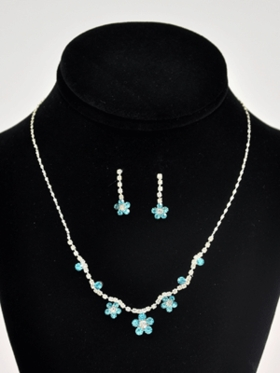 3-Piece Floral Rhinestone Jewelry Set