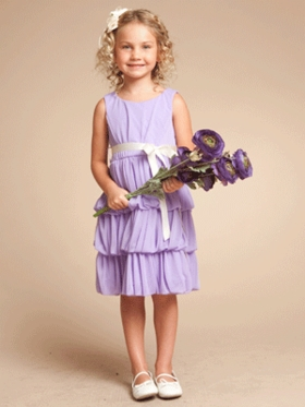 3-Tiered Chiffon Flower Girl Dress with Contrast Ribbon Sash