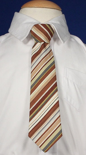 8 Inches Boys Brown Stripe Tie
