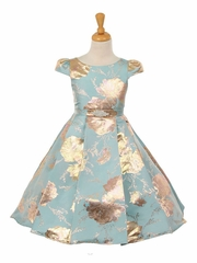 A-Line Brocade Dress with Cap Sleeves