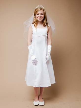 A-lined satin with Venice lace Communion Dress
