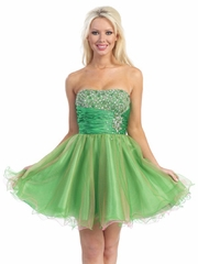 Accented Waist with Two Tone Skirt Prom Dress