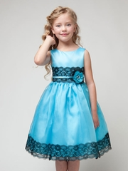 Aqua Organza Lace Dress with Contrast color