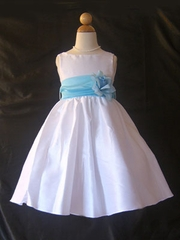 Aqua Sash flower girl dress