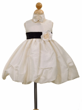 Baby Taffeta Pick-up Flower Girl Dress with Organza Sash