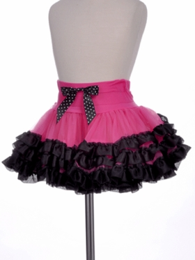 Ballet Hot Pink/Black Ribbon Bow Tutu