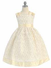 Banana Lace with Cute Bows Flower Girl Dress