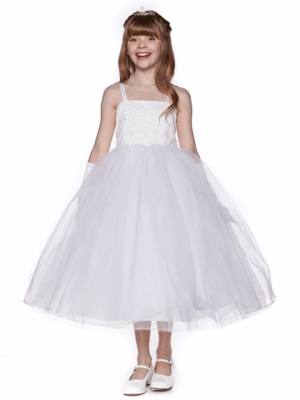 Bead & Pearls Accented Flower Girl Dress