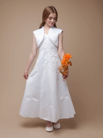 Beaded A-Line Satin Communion Dress