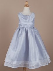 Beaded  Diamond Quilted Organza Holiday Girl Dress