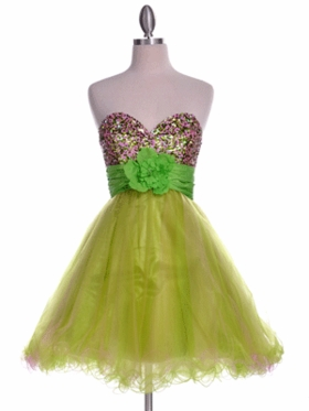 Beaded Heart Neckline Tulle Skirt Prom Dress