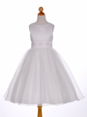 Beaded Satin Overlay Flower Girl Dress