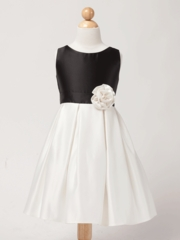 Black and Off white Block Satin Flower Girl  Dress