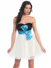 Black Bodice Short Prom Dress