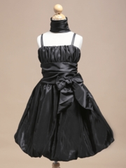 Black Bubble Skirt Flower Girl Dress