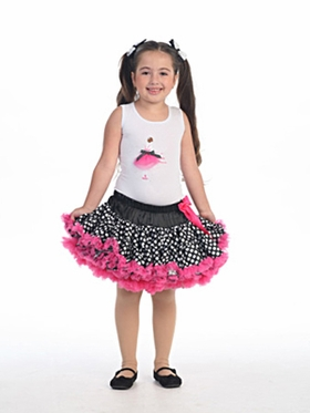 Black Fuchsia Polka-Dot  Girl Tutu Set