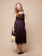 Black Lace with Eggplant Lining Flower Girl Dress