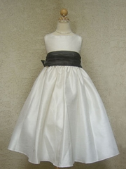 Black Sash Flower Girl Dress