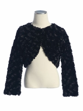 Black Swirl Pattern Faux Fur Bolero