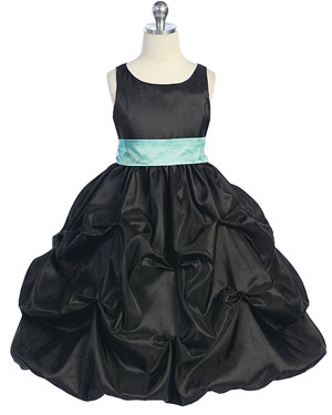 Black Trendy Bubble Tafetta Flower Girl Dress