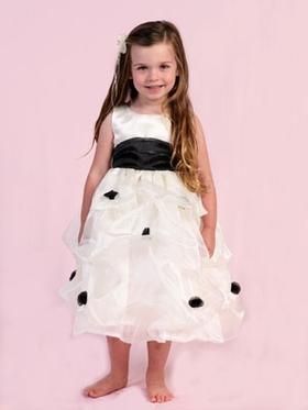 Black Trendy Gathered Flower Girl Dress