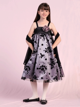Black Trendy Satin with Tulle Embroidery Flower Girl Dress