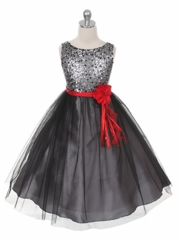 Black Tulle Skirt Holiday Dress with Sequince Bodice