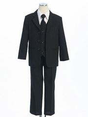 Black/White Stripes Boy's Suit