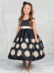 Black With Ivory Rosette skirt Taffeta Flower Girl Dress