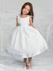 Blue Lace with Cute Bows Flower Girl Dress