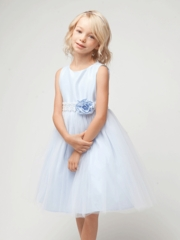 Blue Poly Dupioni Dress with Tulle Skirt