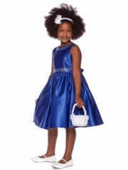 Blue Satin  Dress With Boat Neckline