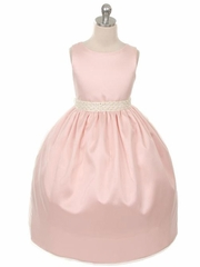 Blush Pink Elegant  Charmeuse Flower Girl Dress