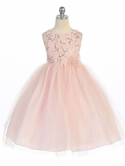 Blush Pink Tulle Skirt Flower Girl Dress with Sequined Top