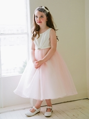 Blush Satin Pleated Flower Girl Dress with Organza Skirt