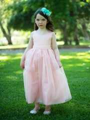 Blush Tulle Overlay Flower Girl Dress with Taffeta Top