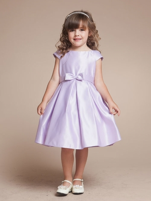 Bow Accented Satin Short Flower Girl Dress