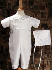 Boy Christening Outfit Pin Tucked Silk Dupioni coverall