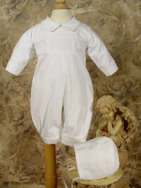 Boys Christening  Hand smocked pin tucked, long sleeve, long pant covera