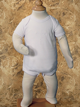 Boys Christening One-Piece Bodysuit with Embroidered Cross