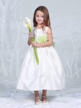 Bridal Satin in Ivory Flower Girl Dress