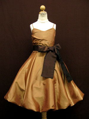 Bronze Bubble Hemming Flower Girl Dress