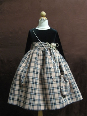 Brown checker flower girl dress