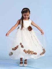 Brown Petal Tulle Flower Girl Dress