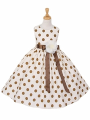 Brown Polka-Dot Cotton Dress with Satin Sash