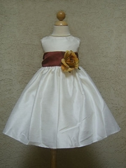 Brown Sash flower girl dress
