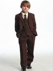 Brown Solid Single Breasted  Boy's Suit